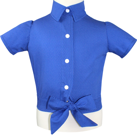 Girl's Blue Polkadot Knot Top 2-10 #GBPT