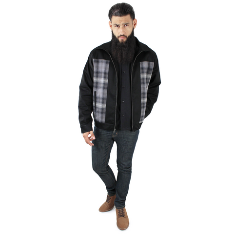 Men's Plaid Panel Jacket in Gray S-4XL #MPPJ-GRY