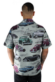 Men's Classic Cars Snap Top In Gray S-4XL