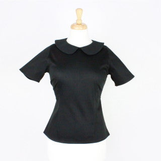 Black Vintage Inspired Fitted Top #T-B543