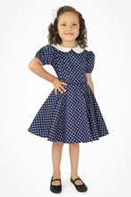 Load image into Gallery viewer, Girl's Blue and White Polka Dot Dress / I Love Lucy Inspired Dress #BWGD