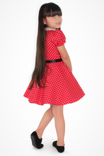 Load image into Gallery viewer, Girl's Red and White Polka Dot Dress #RWP