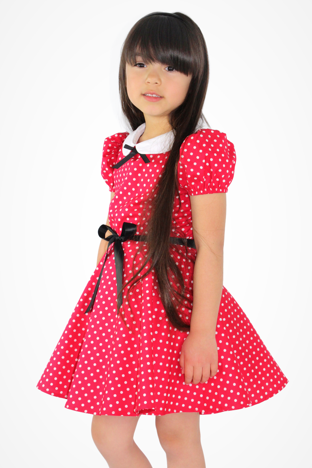 Girl's Red and White Polka Dot Dress #RWP