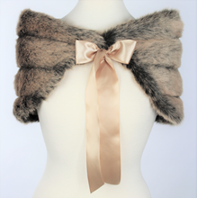 Load image into Gallery viewer, Black Champagne Faux Fur Shawl Capelet #BCSH