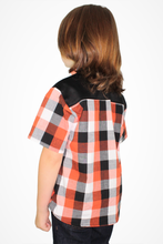 Load image into Gallery viewer, Boy's Orange and Black Plaid Western Top - Trick or Treat Top #OBPW