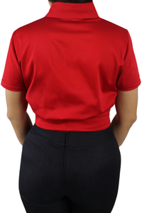 Close up, Back of the top, All red material, Solid red