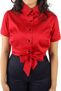 Close up of top, All red material, Collar, Short sleeves, Front knot tie at the waist