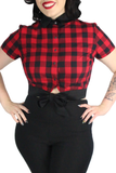 1950s Black and Red Plaid Picnic Top XS-3XL #BRPT-1950