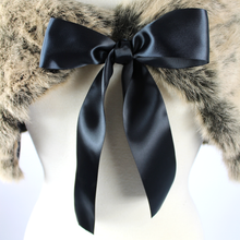 Load image into Gallery viewer, Close up of ribbon, Black ribbon bow