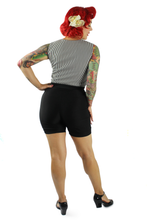 Load image into Gallery viewer, Model wearing top with black high waisted shorts, Pictured from the back