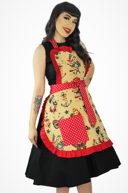 Model wearing apron, Pictured from the side, Model smiling