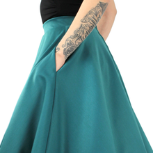 Load image into Gallery viewer, Flowy Teal Skirt With Pockets #FST