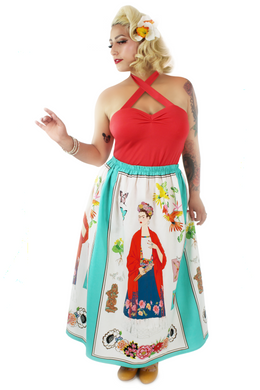 Frida Maxi Skirt in Teal or Beige / One Size