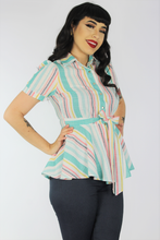 Load image into Gallery viewer, Teal Striped Peplum Top / Maternity Ribbon Belt Top XS-3XL #SPT