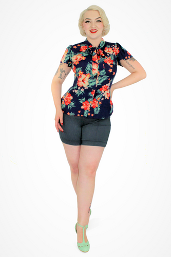 Model in Floral Tropical Top - Navy