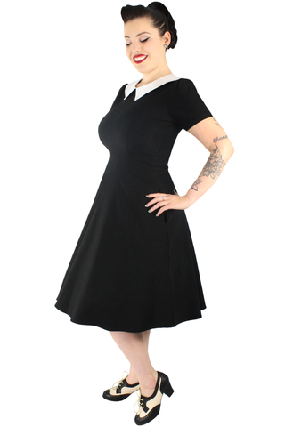 Wednesday Addams Circle Dress/ Pointy Collar #WED-02