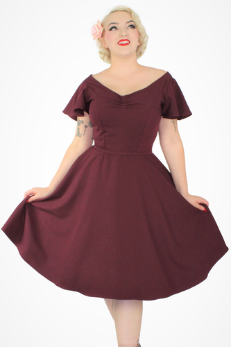 Wine Flowy Dress With Pockets XS-3XL #FBD