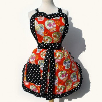 Glittery Sugar Skulls Apron (red)Item#A915