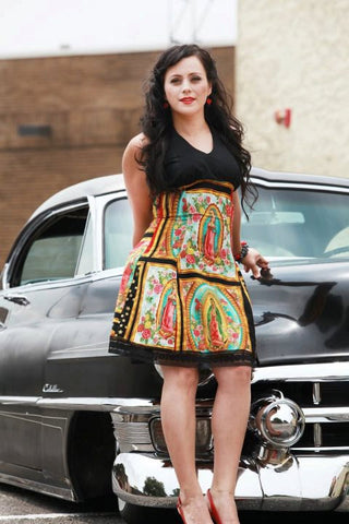 Guadalupe Mexican Virgin Mary Halter Dress / Rockabilly Guadalupe Panels Dress #D-SD708