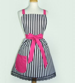 Vintage & French Inspired Striped Apron #AV-001