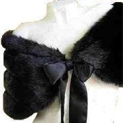 Faux Fur Black Shawl/Stole #FS-892