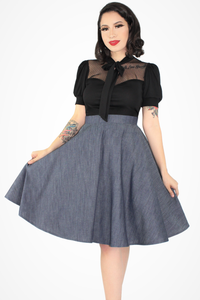 Flowy Denim Skirt With Pockets #FDS