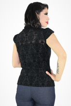 Load image into Gallery viewer, Sheer Damask Top - Black #SDT