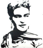 Black and White Hand Printed Frida Kahlo Pillow Cover #PC245