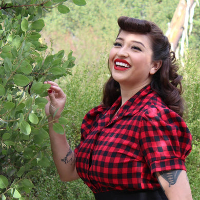 model wearing Holiday Plaid Pin Up Top Buffalo Red
