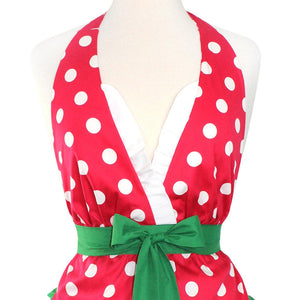 Christmas Elf Polkadot Apron on mannequin