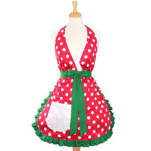 Load image into Gallery viewer, Christmas Elf Polkadot Apron on mannequin