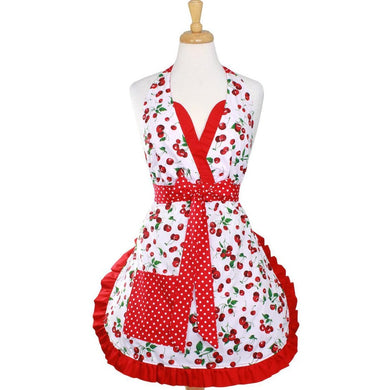 Cherry Pie Holiday Retro Apron on mannequin
