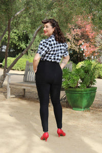 model wearing Holiday Plaid Pin Up Top Buffalo Black