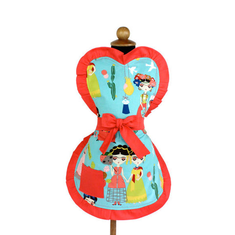 Teal Frida Apron | One Size Fits Ages 2-10 #A-G537