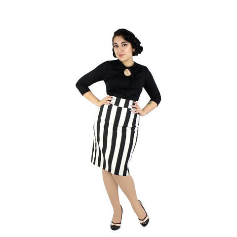 Black and White Striped Pin Up Pencil Skirt #BWP-10