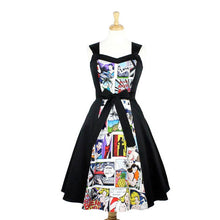 Load image into Gallery viewer, Comic  Full Circle Swing  Vintage Inspired Dress  White #DSCF4335W