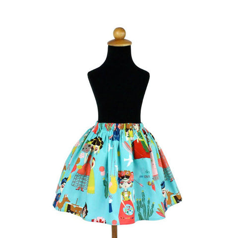 Girl's Teal Colorful Frida Skirt #GS-740