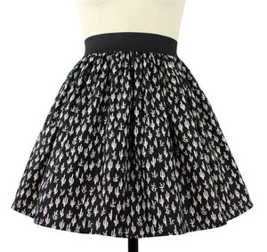 Cute Cacti A-line Pleated Skirt In Black