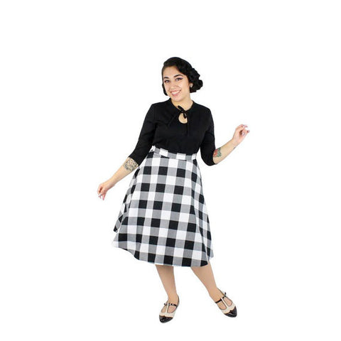 Black and White Gingham Circle Skirt #BW-CS701