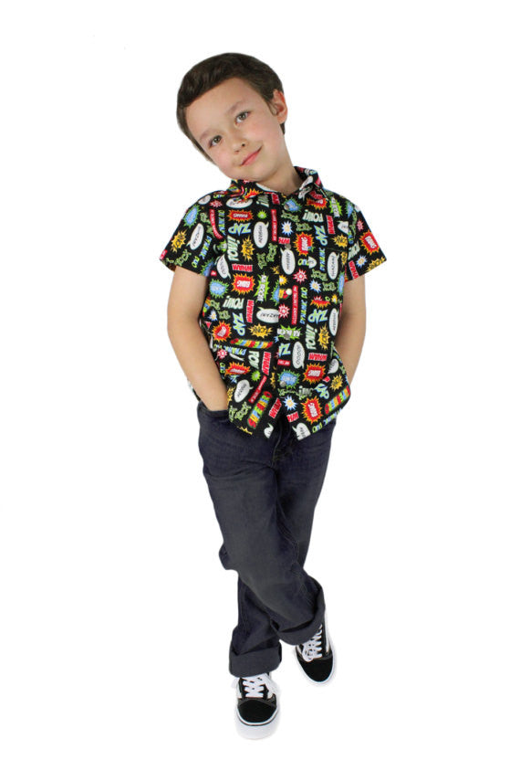 Boy's Vintage Superhero Snap Top #BTS-602