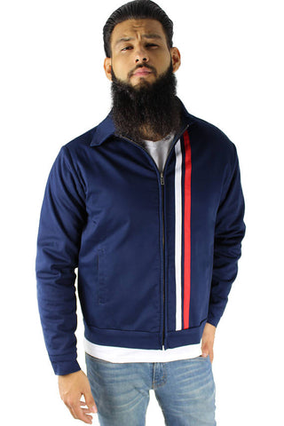 Men's Double Striped Racer Jacket in Navy S-4XL #MDSRJ-N