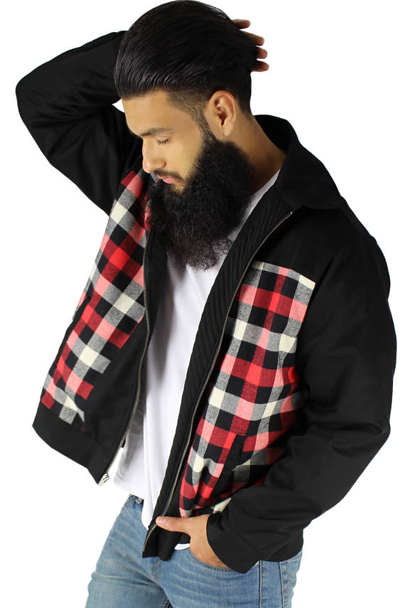 Men's Plaid Panel Jacket in Black S-4XL #MPPJ-BLK