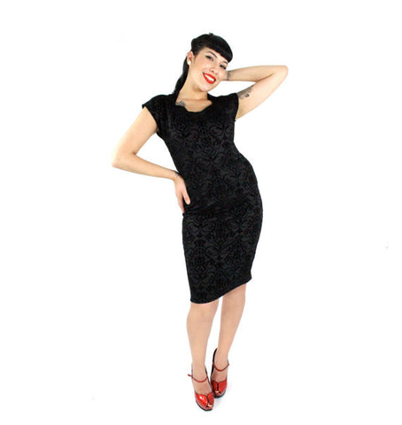 Damask Vintage Inspired Black Fitted Dress XS-4X #DMCD4393
