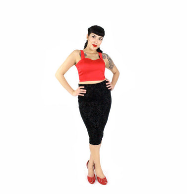 Damask Black High Waisted Fitted Pencil Skirt Plus Size