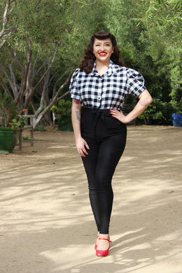model wearing Holiday Plaid Pin Up Top