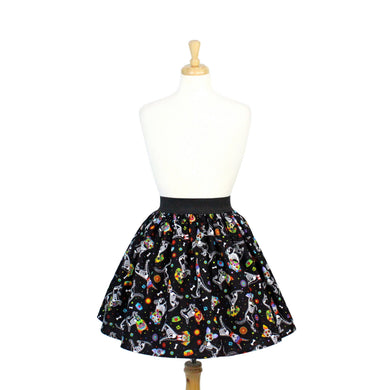 Day of the Dead Dog Pleated Skirt #PS-D331