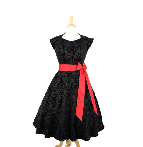 Damask Vintage Inspired Black Full Circle Dress #DMCD4392