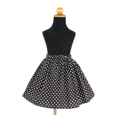Retro Black and White Polka Dot Girl's Skirt #GS-739
