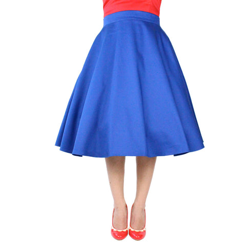 Audrey Hepburn Cobalt Blue Full Circle Skirt #FS-CB644
