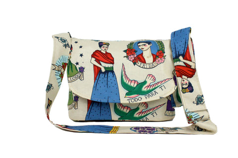Beige and Colorful Frida Messenger Bag #MB-601